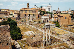Ancient Roman Forums in Rome, Italy. Vintage filter Stock Images