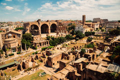 Ancient Roman Forums in Rome, Italy. Vintage filter Stock Photography