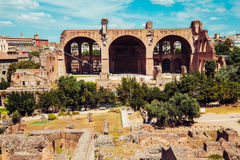 Ancient Roman Forums in Rome, Italy. Vintage filter Royalty Free Stock Photos