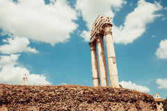 Ancient Roman Forums in Rome, Italy. Vintage filter Stock Image