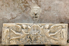 Ancient roman fountain, Rome Stock Image