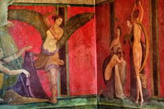Free Ancient Roman Fresco In Pompeii Showing A Detail Of The Mystery Cult Of Dionysus Stock Image - 176129441