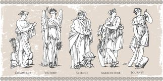 Ancient Roman and Greek historical figure and character set illustration in vintage vector file image on isolated background with. Wall texture Royalty Free Stock Photos