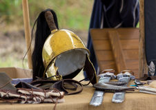 Ancient Roman helm and other war equipment Royalty Free Stock Photography