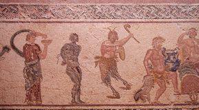 Ancient roman house floor mosaic showing part of the triumph of Dionysus story in kato park paphos cyprus. An ancient roman house floor mosaic showing part of royalty free stock photos