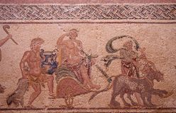 Ancient roman house floor mosaic showing the triumph of Dionysus story in kato park paphos cyprus. An ancient roman house floor mosaic showing the triumph of royalty free stock photo