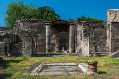 Ancient Roman house. The patio of an old Roman domus in Pompeii, an ancient Roman city Royalty Free Stock Photo