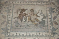 The ancient Roman house - Villa Sileen in Libia. The mosaics of Villa Sileen royalty free stock image