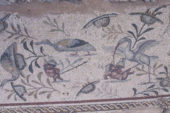 The ancient Roman house - Villa Sileen. The mosaics of Villa Sileen stock images