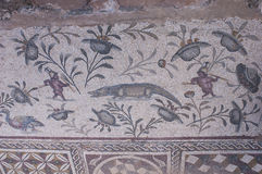 The ancient Roman house - Villa Sileen. The mosaics of Villa Sileen royalty free stock photo