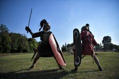 Ancient Roman Legionaries fight with gladius swords Stock Photography