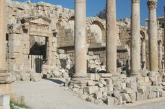 Ancient Roman main street in Jerash cities Royalty Free Stock Images