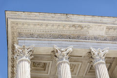 Ancient roman Maison Carree in Nimes, France -close up Stock Images
