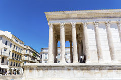 Ancient roman Maison Carree in Nimes, France Stock Images
