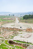 Ancient roman oval forum in antique town Jerash Royalty Free Stock Images