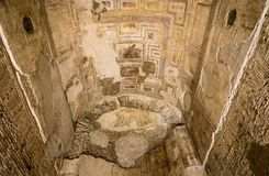 Remains Of Wall Murals Inside Domus Aurea In Rome Stock Image
