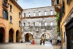 Ancient Roman Porta Borsari Gate in Verona. Verona, Italy - MAY 6, 2017: Ancient Roman Porta Borsari Gate in Verona, Italy Royalty Free Stock Image