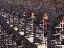 Ancient Roman Raised Aqueduct, Segovia, Spain. Castile and Leon, Spain. Unmortared dry stone granite block or brick construction stock photo