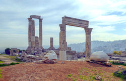 Ancient Roman remains. Located in the city of Amman in Jordan on a sunny day Stock Image