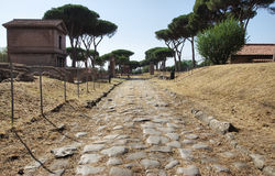 Ancient roman road. Latin Tombs public Park, Roman road in Rome, Italy Royalty Free Stock Images