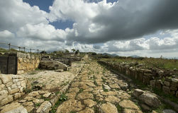 Ancient roman road. Made with cobblestones Stock Photography
