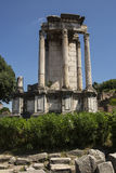 Ancient Roman Ruin. Detail of standing columns from an ancient Roman ruin, possibly a temple. Rome, Italy Royalty Free Stock Photos