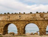 Ancient Roman ruins of aqueduct in Ceasarea Israel historical monument. Ancient Roman ruins of aqueduct in Ceasarea Israel historical monument stock photo
