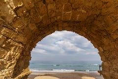 Ancient Roman ruins of aqueduct in Ceasarea Israel historical monument. Ancient Roman ruins of aqueduct in Ceasarea Israel historical monument royalty free stock image
