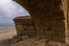 Ancient Roman ruins of aqueduct in Ceasarea Israel historical monument. Ancient Roman ruins of aqueduct in Ceasarea Israel historical monument royalty free stock photo