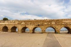 Ancient Roman ruins of aqueduct in Ceasarea Israel historical monument. Ancient Roman ruins of aqueduct in Ceasarea Israel historical monument stock photography