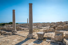 Ancient Roman ruins Kourion Cyprus. Ancient Roman ruins at Kourion on the south coast of Cyprus, including The Agora, The Stoa and The Roman Nymphaeum Stock Photo