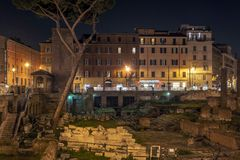 Ancient roman ruins in Largo di Torre Argentina in Rome Royalty Free Stock Images