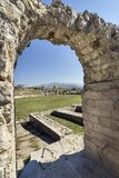 Ancient Roman ruins near town Split in Croatia. Remains of a Roman amphitheatre in ancient roman town Salona Solin near town Split in Croatia, Europe Royalty Free Stock Photos