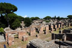 Ancient Roman ruins in Ostia Antica, Italy royalty free stock images