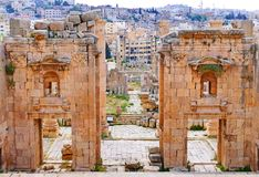 Ancient Roman Ruins of The Propylaeum in Jerash, Jordan Royalty Free Stock Photography
