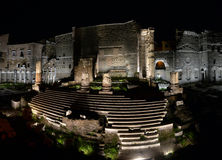 Ancient Roman ruins in Rome in the Royalty Free Stock Photography