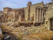 The ancient roman ruins in Rome. Remains of the Roman Empire ... In all its beauty, despite only residues are still working mighty and impressive ... The Eternal Royalty Free Stock Images
