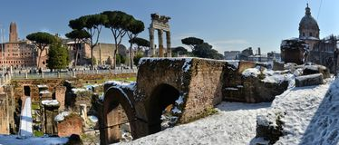 Ancient Roman ruins in Rome. In winter, under the snow Stock Images