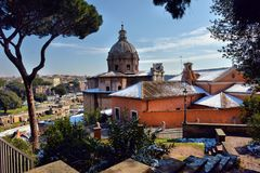 Ancient Roman ruins in Rome. In winter, under the snow Stock Photo