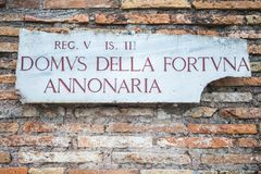 Ancient roman signpost in Rome, Italy Royalty Free Stock Image