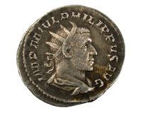 Ancient Roman Silver Coin. Ancient Roman silver Antoninianus coin showing Emperor Philip I Stock Photos