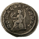 Ancient Roman silver coin. Reverse showing Roma seated Royalty Free Stock Photography