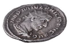 Ancient Roman silver coin. Ancient Roman silver Antoninianus coin, edge view showing Emperor Philip I Stock Images