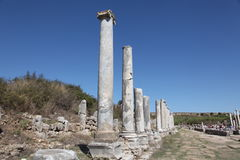 Ancient Roman site in Perge, Turkey. Roman archaeological site of ancient city of Perge in Turkey Royalty Free Stock Images