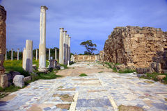 Ancient Roman site in Salamis. Roman archaeological site of ancient city of Salamis in Cyprus Stock Photography