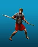 Ancient Roman spearman Stock Photo
