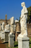 Ancient Roman statues on pedestals Royalty Free Stock Image