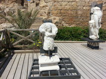 Ancient Roman Statues from 1st century Israel Caesarea. These are two of the several statues unearthed in Roman Roman Maratima Israel. Made of white marble they stock photography