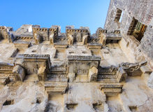 Ancient roman stone balconies. In Aspendos Stock Image