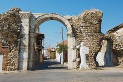 Ancient roman stone town gate in Milas, Turkey. stock photo